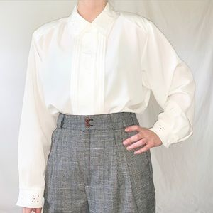 Vintage 80s White Button Down Shirt